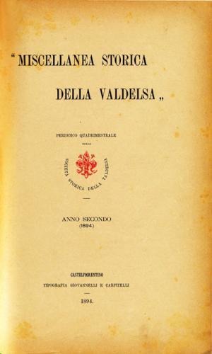 Miscellanea Storica della Valdelsa anno 1894