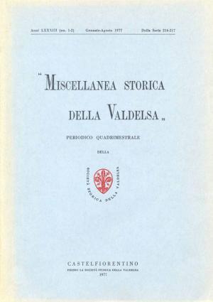 Miscellanea Storica della Valdelsa anno LXXXIII 1977